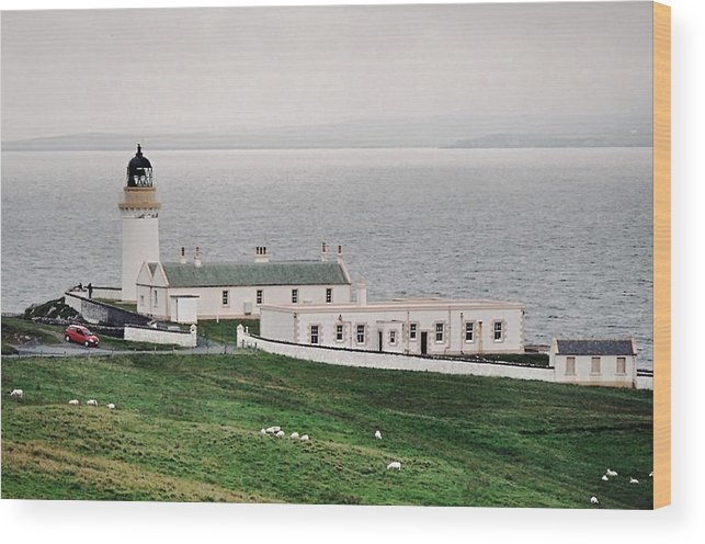 Lighthouse Wood Print featuring the photograph Kirkabister Ness Lighthouse by Steve Watson