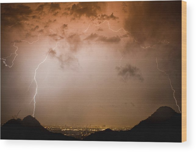 Lightning Wood Print featuring the photograph Lightning Dome by James BO Insogna