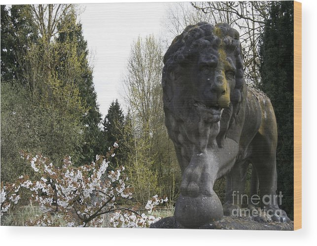 Lion Wood Print featuring the digital art Lion Sculpture by Heather Lennox