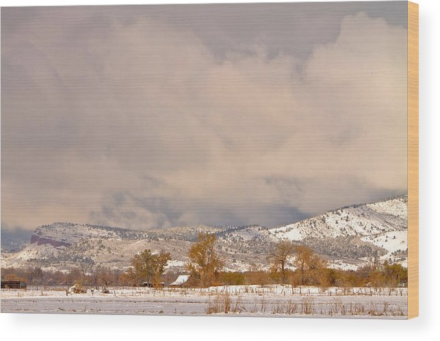 'low Clouds' Wood Print featuring the Low Winter Storm Clouds Colorado Rocky Mountain Foothills 5 by James BO Insogna