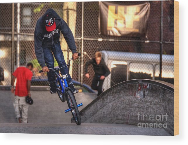 Bmx Wood Print featuring the photograph Manhattan Bmx by Rob Hawkins