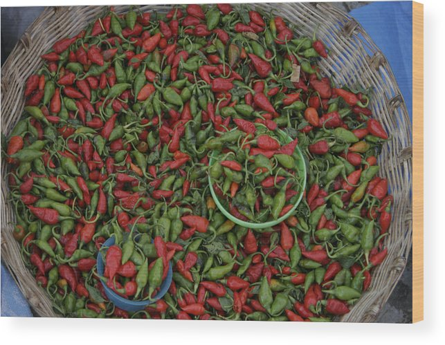 Ocosingo Wood Print featuring the photograph Mexican Peppers At An Open Air Market by Gina Martin