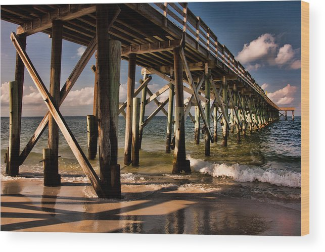 Ocean Wood Print featuring the photograph Mexico Beach Pier by Susan Cliett