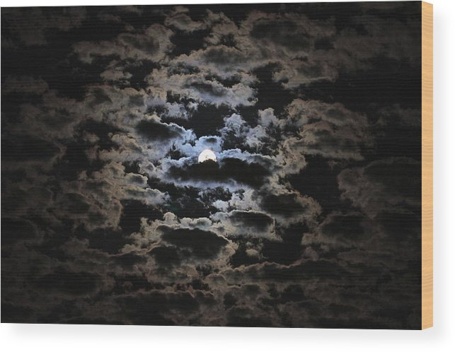 Moon Prints Wood Print featuring the photograph Moon And Clouds by Paul Marto
