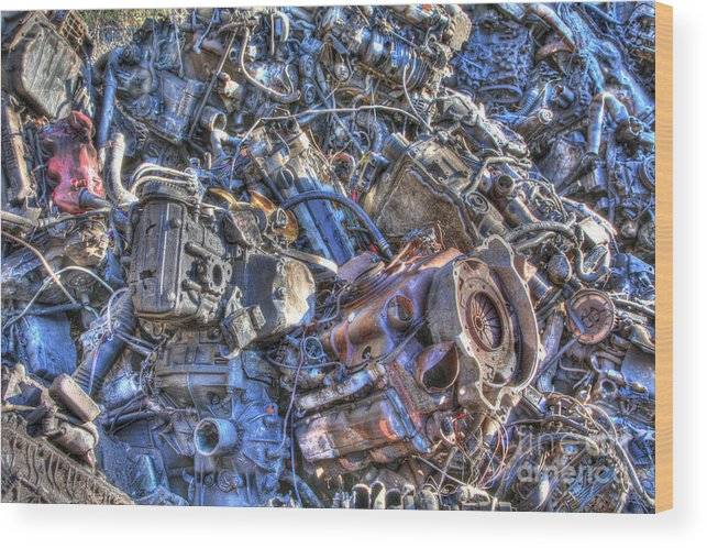 Hdr Wood Print featuring the photograph Motor City by David Rusch