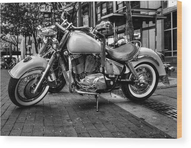 Black And White Wood Print featuring the photograph Motor Cycle by Vinnie Oliveri