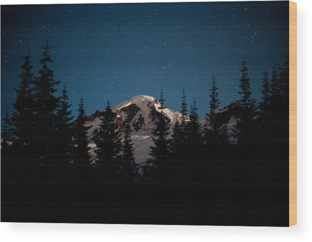 Mount Baker Wood Print featuring the photograph Mount Baker Starry Night by Mike Reid