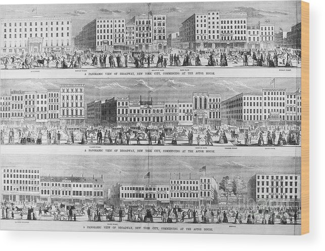 1851 Wood Print featuring the photograph New York: Broadway, 1851 by Granger