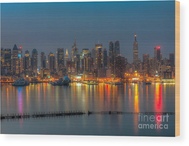 Clarence Holmes Wood Print featuring the photograph New York City Skyline Morning Twilight Xi by Clarence Holmes