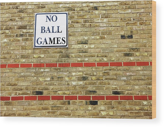 Horizontal Wood Print featuring the photograph No Ball Games by Richard Newstead