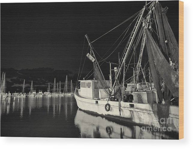 Gulf Of Mexico Wood Print featuring the photograph Old Fishing Boat At Texas Gulf Coast by Andre Babiak