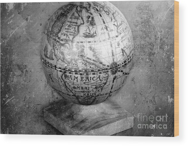 Globe Wood Print featuring the photograph Old Globe In Black And White by Sophie Vigneault