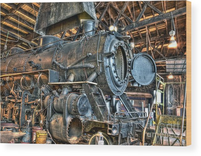 Wood Print featuring the photograph Old Steam Locomotive by Bob Niederriter