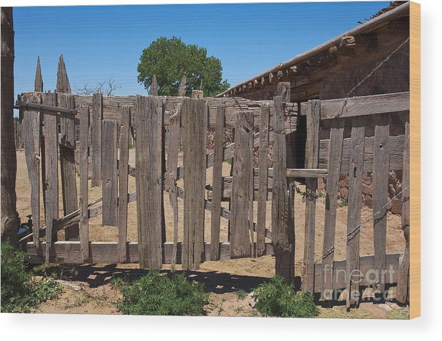 Architecture Wood Print Featuring The Photograph Old Wooden Fence Gate By  Thom Gourley/Flatbread Images