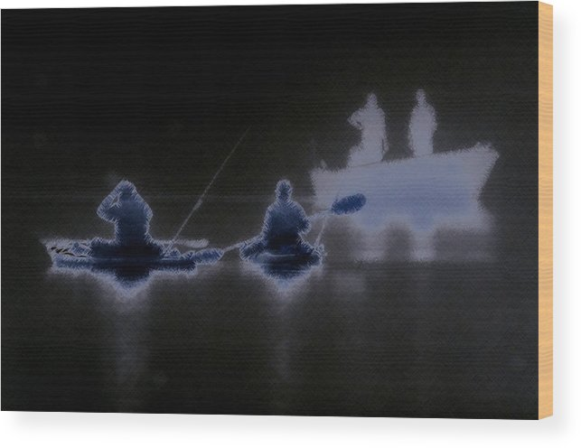 digitally Enhanced Photograph fishing In The Fog Fishing Wood Print featuring the photograph Out Of The Darkness by Myrna Bradshaw