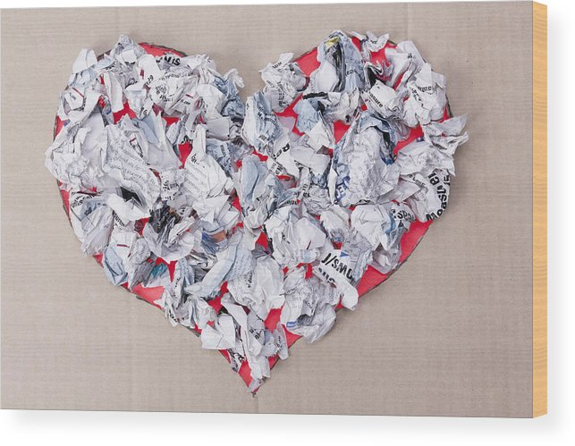Background Wood Print featuring the photograph Paper Dump Heart Concept by Aleksandr Volkov