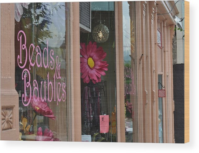 Whimsical Storefront In Historical Tunkhannock Pa. Wood Print featuring the photograph Pink Storefront by Mary Frances