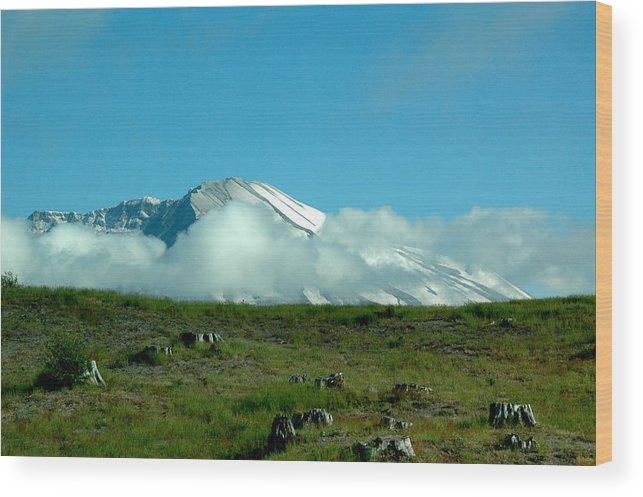 Mountains Wood Print featuring the photograph Playing In The Clouds by Karri Ann Moore