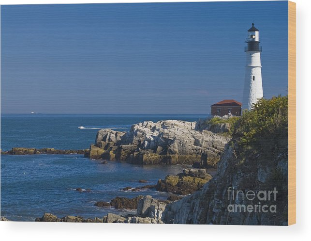 Lighthouse Wood Print featuring the photograph Portland Head Light 1 by Tim Mulina