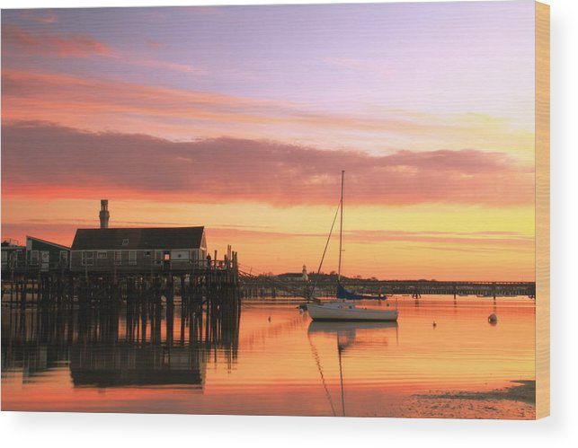 Dawn Wood Print featuring the photograph Provincetown Harbor Before Sunrise by Roupen Baker