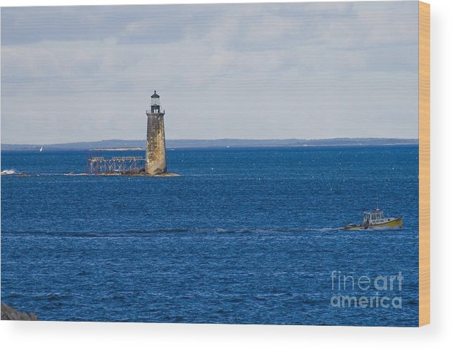 Lighthouse Wood Print featuring the photograph Rams Island Ledge Light by Tim Mulina