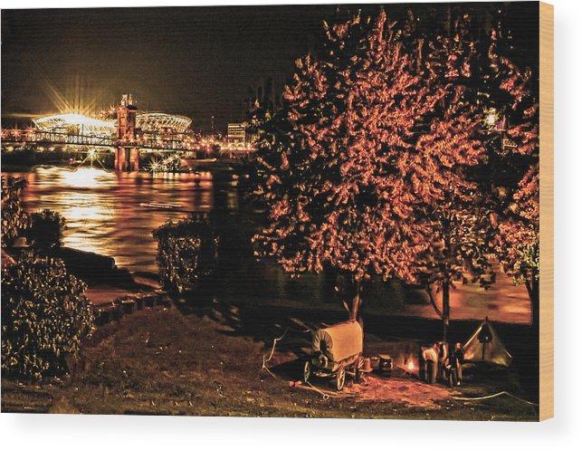Riverfront Cincinnati Wood Print featuring the photograph Riverfront 1865-2003 Tall Stacks By Randall Branham by Randall Branham