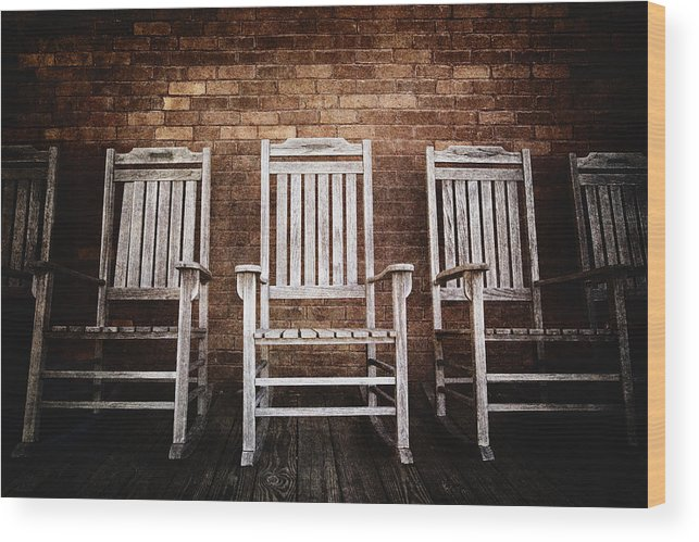 Absence Wood Print featuring the photograph Rocking Chairs by Skip Nall