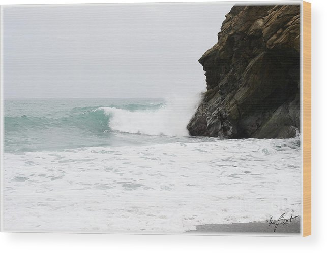 Ocean Wood Print featuring the digital art Rocks And Surf by Maxine Bochnia