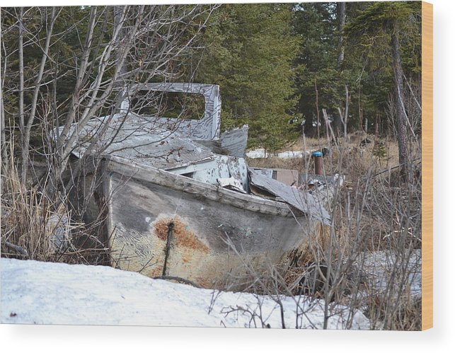 Ship Wood Print featuring the photograph Run Aground by Jennifer Zirpoli
