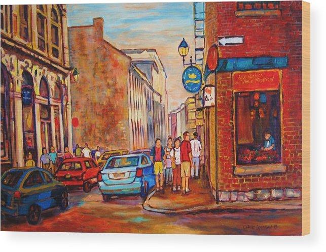 Streetscene Wood Print featuring the painting Saint Paul Street Montreal by Carole Spandau