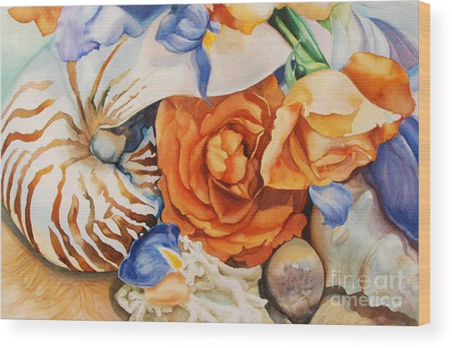Original Watercolor Wood Print featuring the painting Sea Petals by Catherine Moore