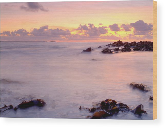 Sunset/landscape/clouds Wood Print featuring the photograph Seafield Sunset by Ann O Connell