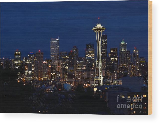 Seattle Wood Print featuring the photograph Seattle In The Evening by Alan Clifford