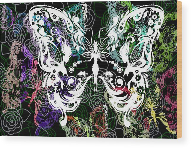 Silhouette Wood Print featuring the photograph Seven Butterflies by Angelina Vick