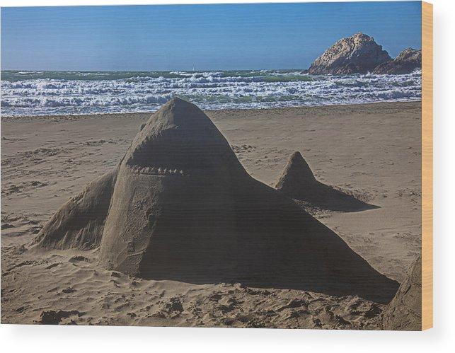 Shark Wood Print featuring the photograph Shark Sand Sculpture by Garry Gay