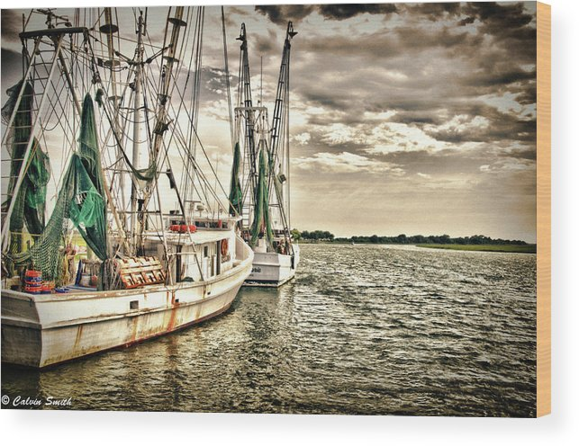 Wood Print featuring the photograph Shrimp Boats by Calvin Smith