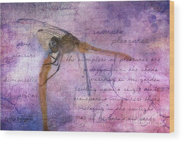 Dragonfly Wood Print featuring the digital art Simple Pleasures Iv by Rhonda Strickland