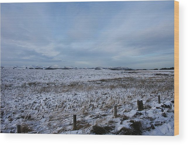 Snow Wood Print featuring the photograph Snowy Field by Allan Somerville