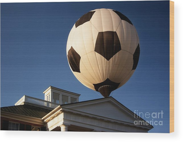 Hot Air Balloon Wood Print featuring the photograph Soccer Ball Over Long Branch by Susan Isakson
