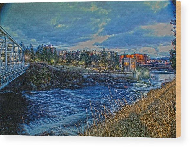 Wood Print featuring the photograph Spokane Falls From Howard St Bridge by Dan Quam