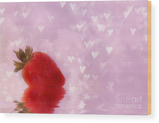 Strawberry Wood Print featuring the mixed media Strawberry by Elaine Manley