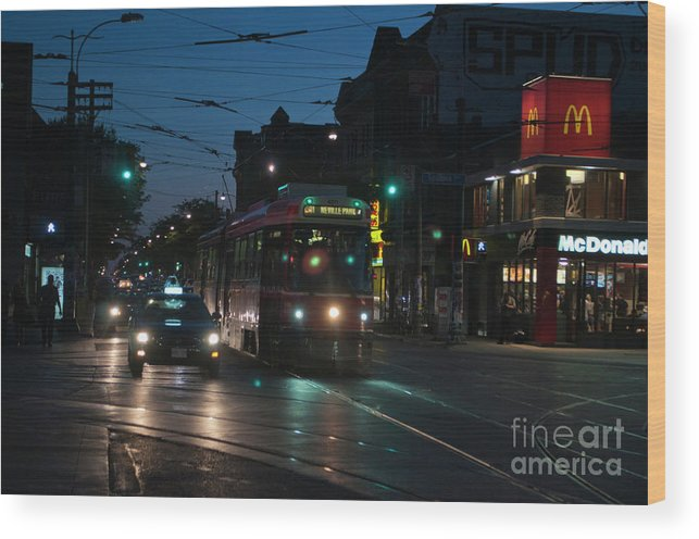 Streetcar Wood Print featuring the photograph Streetcar At Queen And Spadina by Gary Chapple