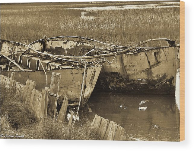 Hdr Folly Beach James Island Shrimp Boat Pier Wood Print featuring the photograph Stuck by Calvin Smith