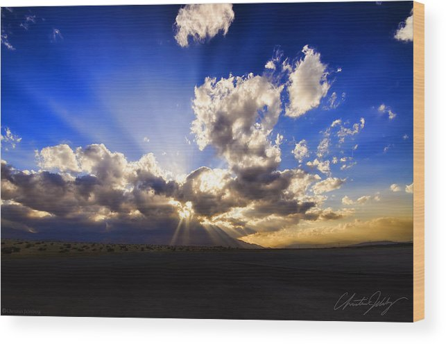 Sunset Wood Print featuring the photograph Sun Set By Aqua by Christian Jelmberg