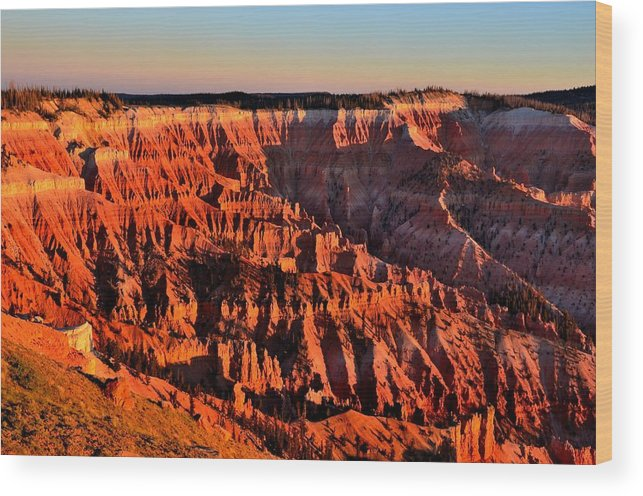 Cedar Breaks National Monument Wood Print featuring the photograph Sunset At Cedar Breaks by Mark Bowmer