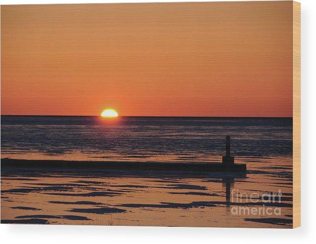 Sunset Wood Print featuring the photograph Sunset Park Petoskey Mi by Ronald Grogan