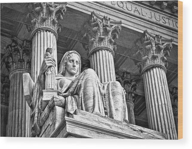 Black Russian Wood Print featuring the photograph Supreme Court Building 15 by Val Black Russian Tourchin