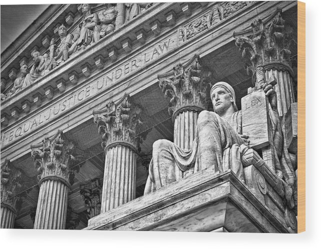 Black Russian Wood Print featuring the photograph Supreme Court Building 20 by Val Black Russian Tourchin