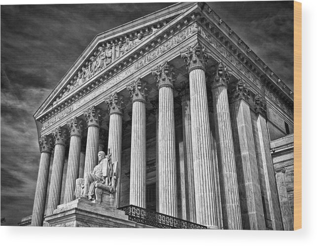 Black Russian Wood Print featuring the photograph Supreme Court Building 5 by Val Black Russian Tourchin
