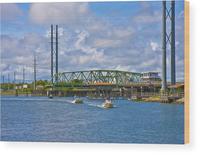 Topsail Wood Print featuring the photograph Surf City Swing Bridge by Betsy Knapp